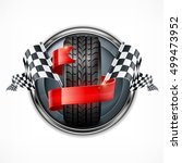 racing emblem. rubber wheel.... | Shutterstock .eps vector #499473952