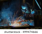 industrial worker at the car... | Shutterstock . vector #499474666