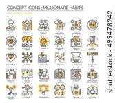 millionaire habits   thin line... | Shutterstock .eps vector #499478242