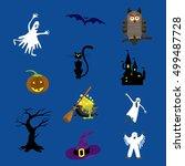halloween icons set vector... | Shutterstock .eps vector #499487728