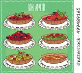 set of different tartlets  with ... | Shutterstock .eps vector #499489165