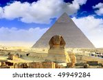 Great Pyramid of Pharaoh Khufu, located at Giza and the Sphinx. Egypt. Panorama - stock photo