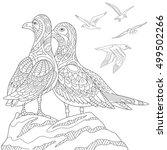 Stylized Seagulls  Flock Of...
