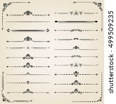 vintage set of decorative black ... | Shutterstock .eps vector #499509235