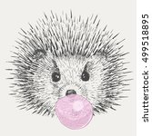 hedgehog inflates bubble gum.... | Shutterstock .eps vector #499518895