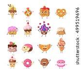 set of funny dancing sweets.... | Shutterstock . vector #499519696