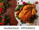 roasted whole chicken with... | Shutterstock . vector #499530622