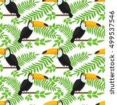 tropical bird seamless pattern... | Shutterstock .eps vector #499537546