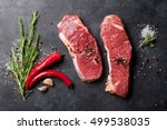 raw striploin steak with... | Shutterstock . vector #499538035