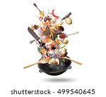 large iron skillet with falling ... | Shutterstock . vector #499540645