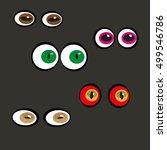 eyes on a black background.... | Shutterstock .eps vector #499546786