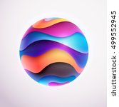 3d colored striped ball | Shutterstock .eps vector #499552945