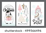 set of christmas cards with... | Shutterstock .eps vector #499566496