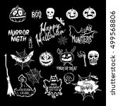 halloween set  drawn halloween... | Shutterstock . vector #499568806
