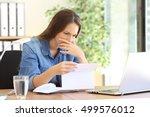 worried entrepreneur girl... | Shutterstock . vector #499576012