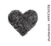 hand drawn vector heart on... | Shutterstock .eps vector #499576558