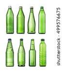 set of green glass bottles of... | Shutterstock . vector #499576675