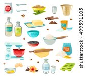 baking ingredients colored... | Shutterstock .eps vector #499591105