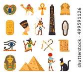 Egypt Touristic Icons Set With...