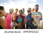 diverse young people fun beach... | Shutterstock . vector #499593322