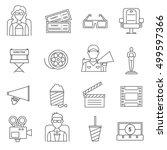black line cinema icons set of... | Shutterstock .eps vector #499597366