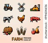 set of farm freehand icons  ... | Shutterstock .eps vector #499604656