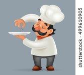 chef cook serving food... | Shutterstock .eps vector #499610905