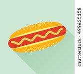 delicious hotdog with mustard.... | Shutterstock .eps vector #499625158