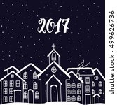 new year and christmas card... | Shutterstock .eps vector #499626736