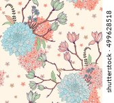 garden flowers pattern on the... | Shutterstock .eps vector #499628518
