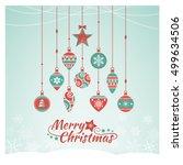 vintage christmas baubles...   Shutterstock .eps vector #499634506