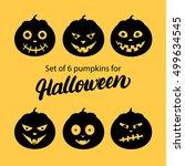 halloween pumpkin 6 icons set.... | Shutterstock .eps vector #499634545