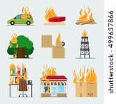 fire risk icons. fire in home... | Shutterstock .eps vector #499637866