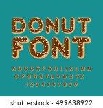 donut font. pie alphabet. baked ... | Shutterstock .eps vector #499638922