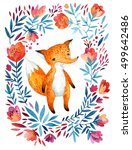 watercolor cute childish fox ... | Shutterstock . vector #499642486
