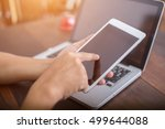 businessman hands with tablet | Shutterstock . vector #499644088