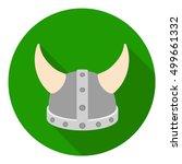 Viking Helmet Icon In Flat...
