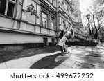 black and white photo of groom... | Shutterstock . vector #499672252