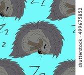 sleeping hedgehog seamless...   Shutterstock .eps vector #499675852