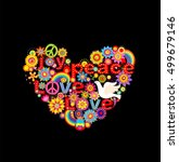 applique with colorful flowers... | Shutterstock . vector #499679146