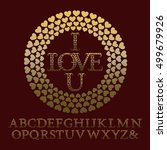gold patterned letters with... | Shutterstock .eps vector #499679926