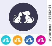 vector dog and cat on round... | Shutterstock .eps vector #499683496
