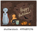 card halloween. vampire cat... | Shutterstock .eps vector #499689196