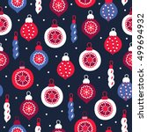 christmas seamless pattern with ... | Shutterstock .eps vector #499694932