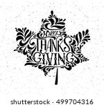 hand drawn thanksgiving... | Shutterstock .eps vector #499704316