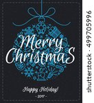 christmas greeting card with... | Shutterstock .eps vector #499705996