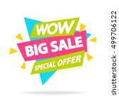 sale banner with sign wow big... | Shutterstock .eps vector #499706122