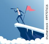 businessman standing on top of... | Shutterstock .eps vector #499707616