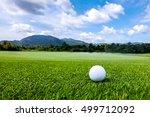 golfball on grass of golf... | Shutterstock . vector #499712092