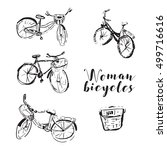 set of woman bicycles with... | Shutterstock .eps vector #499716616